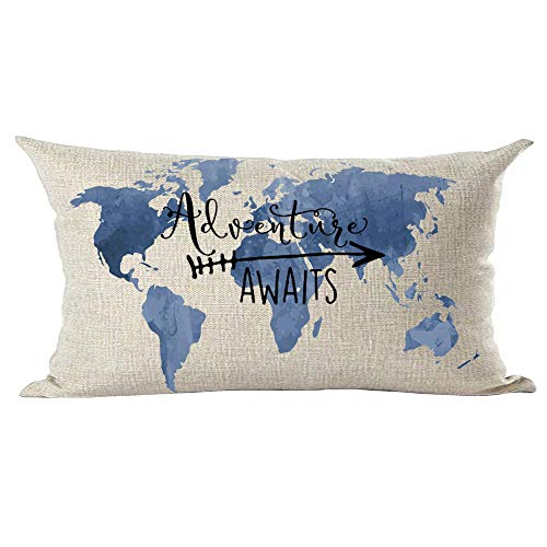ramirar Hand Painted Ink Painting Watercolor Blue World Map Adventure Awaits Arrow Lumbar Throw Pillow Cover Case Cushion Home Living Room Bed Sofa Car Cotton Linen Rectangular 12 x 20 Inches