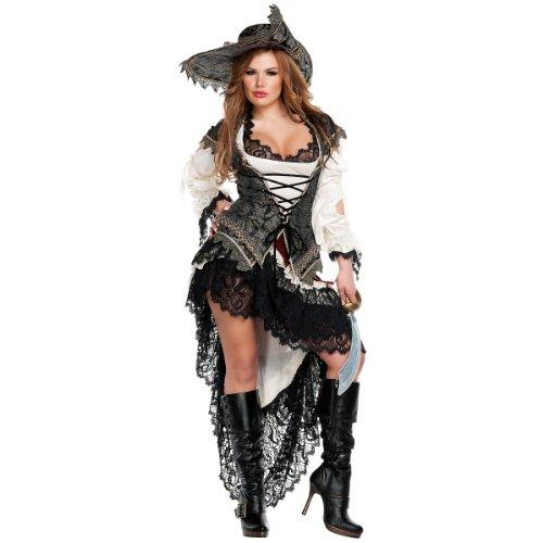 Starline Hidden Treasure Pirate Sexy Women's Costume Set, Black/Ivory, Large]()