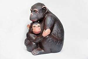 Jardín de cerámica figura de mono con bebé pintada a mano decoración de hogar y exterior