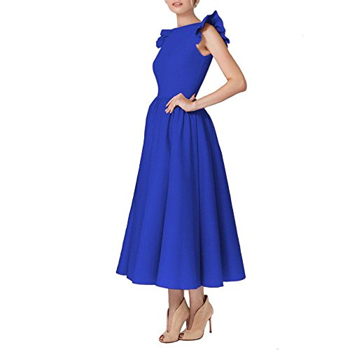 Redondo Sin E De Mangas Otoño Invierno Y Azul Sencilla Vestido Exquisita Moda Cuello Sslw wq6X8X