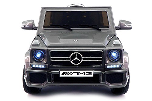- 2019 Ride On Car Mercedes G65 Truck w/ Remote Control for Kids | 12V Battery Power Licensed Kid Car to Drive with 3 Speeds, Leather Seat (Silver, G Wagon)