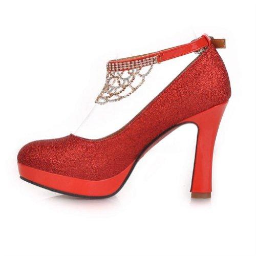 Nieuwe Mode Strass Vrouwen Platform Pomp Hoge Hakken Schoenen Bruids Schoenen Rood