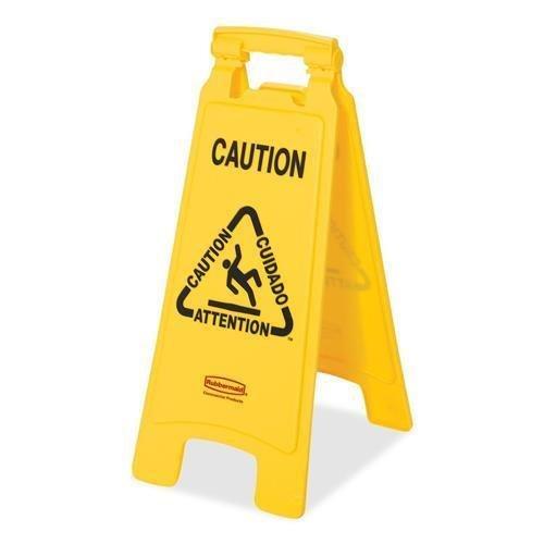 Rubbermaid 611200YW Multilingual -Inch Caution-Inch Floor Sign, Plastic, 11 x 1 1/2 x 26, Bright Yellow ()