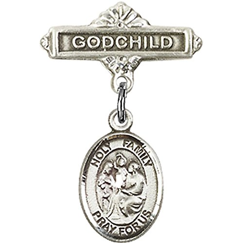 Sterling Silver Baby Badge with Holy Family Charm and Godchild Badge Pin 1 X 5/8 inches by Unknown