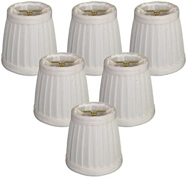 Royal Designs Pleated Empire Chandelier Lamp Shade, White, Set of 6, Size 3.5 CS-109WH-6