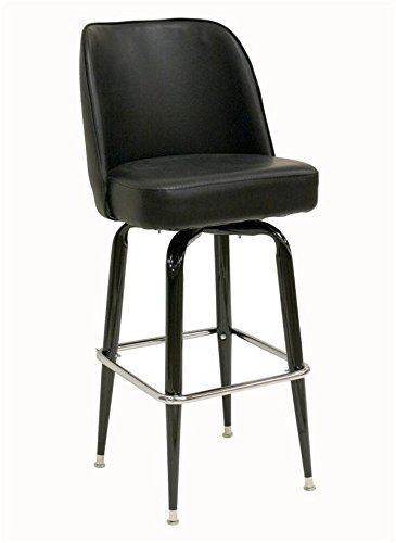 Black Finish Round Tapered (American Tables & Seating SR-4 Swivel Bar Stool, Bucket Seat and Cross-Over Base, 3 Pitch Swivel, Welded Round Tapered Tubing, Black Enamel Finish, Seat Unattached, 17