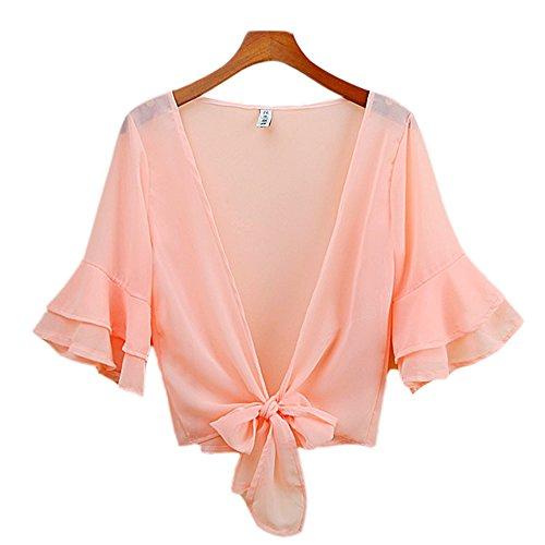 Uther Women's Sheer Chiffon Bolero Cardigan Jacket Summer Shrug Shawl Shirt Top Pink 3XL