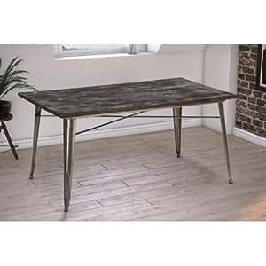 DHP Fusion Dining Table Rectangular Antique Gun Metal Wood T