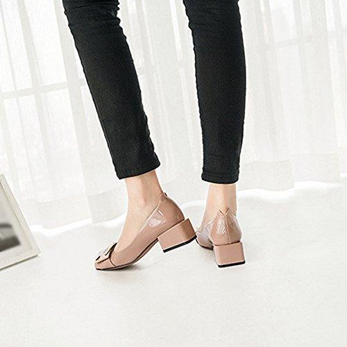 T-juli Dames Stuiver Instappers Schoenen Moderne Slip Op Mid Hiel Brogue Vierkante Neus Gesp Mocassin Stuiver Naakt Kleur