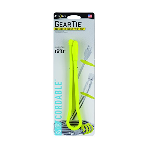 Nite Ize Gear Tie Cordable, The Orginal Reusable Rubber Twist Tie with Stretch-Loop For Cord Management + Storage, 18-Inch, Neon Yellow, 2 Pack, Made in the USA