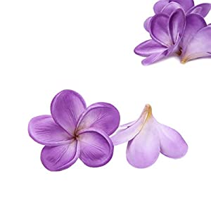Unigift Bunch of 10 PU Real Touch Lifelike Artificial Plumeria Frangipani Flower Without The twig Bouquets Wedding Flowers Home Party Decoration (Purple) 3