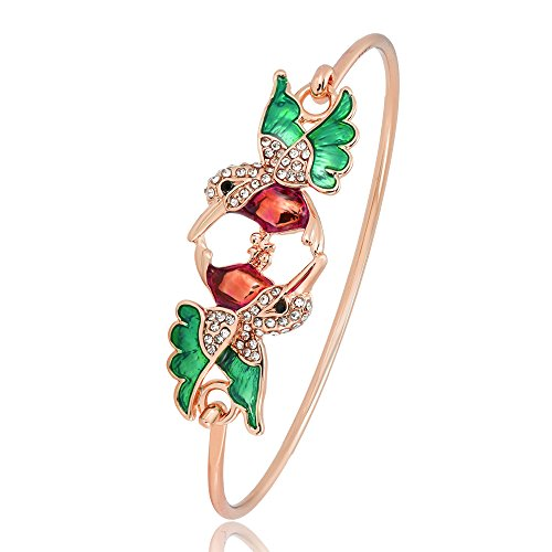 RUXIANG a Pair Crystal Enamel Colorful Hummingbird Bird Animal Bangle Cuff Hook Opening Bracelet Jewelry (rose gold)