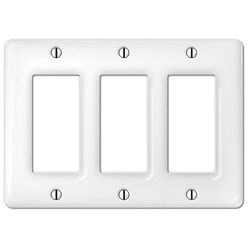 - Allena 3020RRRW - 3 Rocker Wallplate in White Ceramic