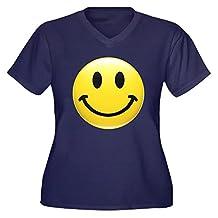 Royal Lion Women's Plus VNck Drk T-Shirt Smiley Face HD