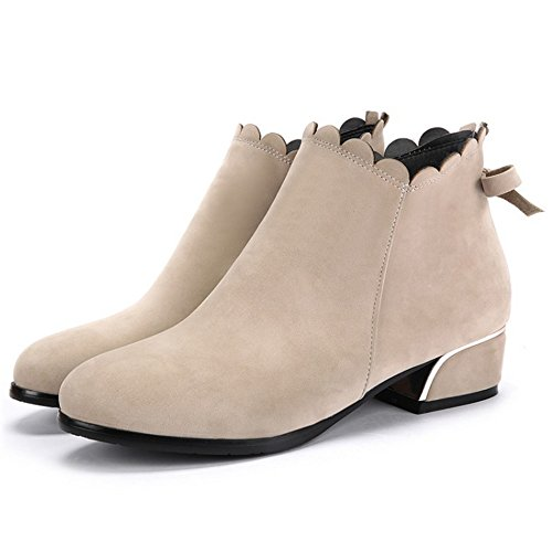 COOLCEPT Women Fashion Block Mid Heel Ankle Autumn Boots With Bowtie 48 Apricot tp3Sh6XL9S