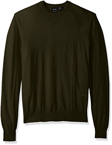A|X Armani Exchange Men's Long Sleeve Crew Neck Pullover Knit reg Fit, Dk Moss, - Sweater Men Exchange Armani