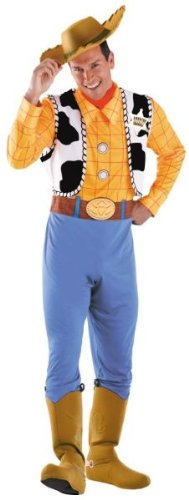 Men'S Costume: Woody Deluxe Plus Size - Product Description - One Of Disney'S Most Beloved Characters! Jumpsuit With Printed Shirt And Belt, Attached Vest With Gold Sheriff'S Star, Attached Boot Covers, Handkerchief, And Cowboy Hat. Fits Adult S (Disney Characters Male)
