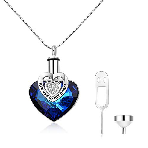 AOBOCO S925 Sterling Silver Heart URN Necklace Engraved Always in My Heart Pendant,Cremation Keepsake Necklace for Ashes with Blue Swarovski Crystal,Fine Memorial Jewelry (Dog Necklace Swarovski Crystal)