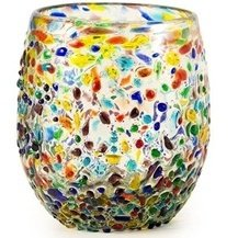 Bambeco Confetti Hand-Crafted Blown Recycled Glass 8 oz Stemless Wine Glass (1 Peice)
