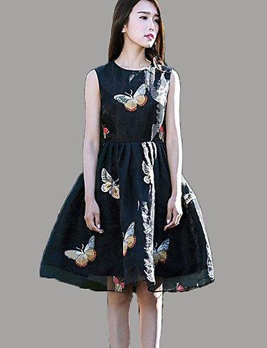 PU&PU Robe Aux femmes Trapèze Simple,Imprimé Col Arrondi Mi-long Polyester , black-2xl , black-2xl