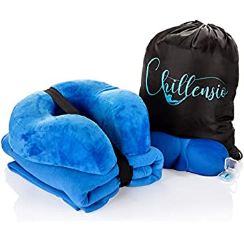 Chillensio Premium Travel Kit - Memory Foam Travel Pillow, Polar Fleece Travel Blanket, Eye Mask, Ear Plugs. Convenient Carry Bag Lightweight Travel Set for Extreme Comfort for Airplane Train Car Bus