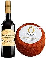 Pack de Vino Oloroso Dulce Matusalem y Queso Curado de Leche Cruda en Pimenton - Vino de 75 cl y Queso de 900 g aprox - Mezclanza
