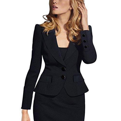 Autumn Outwear Women Slim Casual OL Short Suit Coat Jacket (Black) - 7