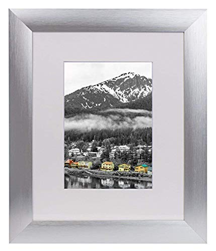 Golden State Art, Satin Silver Color Brushed Aluminum Landscape Or Portrait Table-top Photo Picture Frame with Ivory Color Mat & Real Glass ()