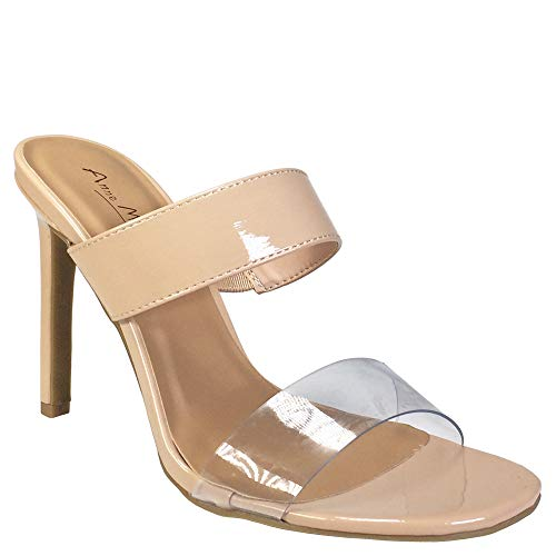 (Anne Michelle Women's Clear Band Dress Heel Slide Sandal, Nude Patent PU, 6.5 B)
