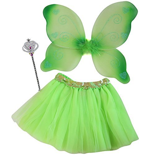 Girls Lime Green Tutu, Wing & Wand Fairy Dress Up Set Size 3-6 Years]()