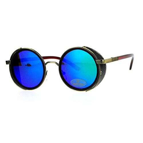 SA106 Steampunk Victorian Side Visor Round Circle Lens Sunglasses Teal - Sunglasses Steampunk Victorian