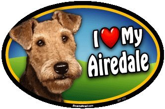 Airedale Magnet (Oval Car Magnet - I Love My Airedale)