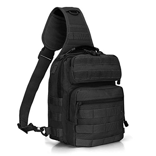 (G4Free Outdoor Tactical Sling Backpack, Military Sport Daypack Shoulder One Strap Small Backpack for Camping, Hiking, Trekking, Rover Molle Chest Pack(Black))