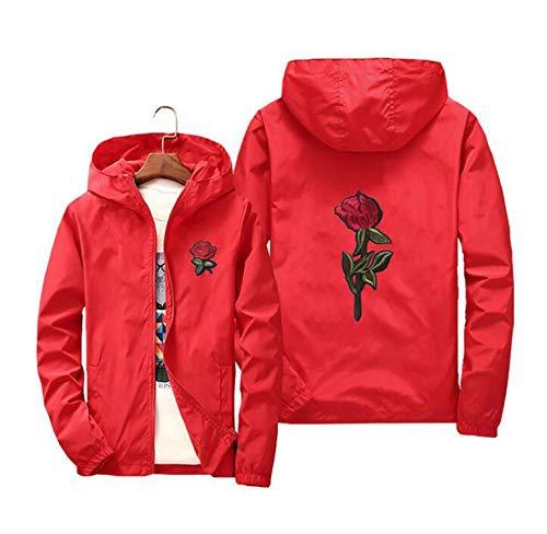 Seche Rose - Piiuiy Yuik Jacket Windbreaker Men Women Rose College Jackets 8 clolors,Red,L