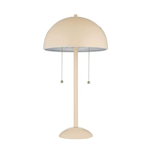 Rivet Dome-Shaped Table Lamp, Aster Modern, with Bulb, 21 H, Tan Light Pink