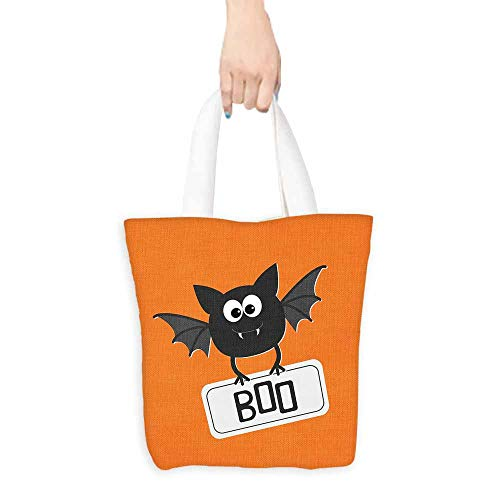 Reusable Shopping Grocery Bags,Halloween Cute Funny Bat with Plate Boo Fangs Scare Frighten Seasonal Cartoon Print,Organic Cotton Washable & Eco-friendly Bags,16.5