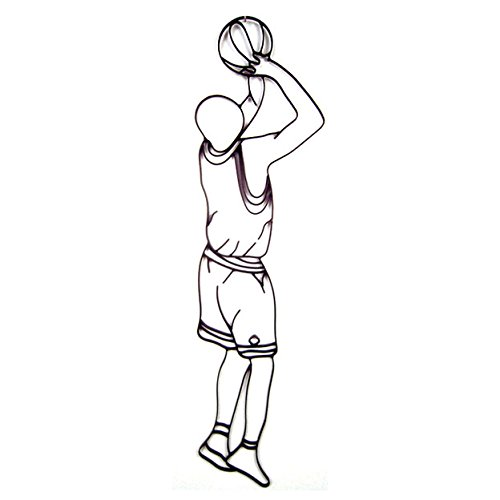 (World Unique Imports BS-0502 Basketball Player Shooting Metal Wall Décor and Sculpture Black)