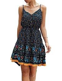 LittleMax Women's Printed Dresses Sleeveless Sling Button A Line T Shirt Skater Mini Dress -Work Casual Summer Skirt