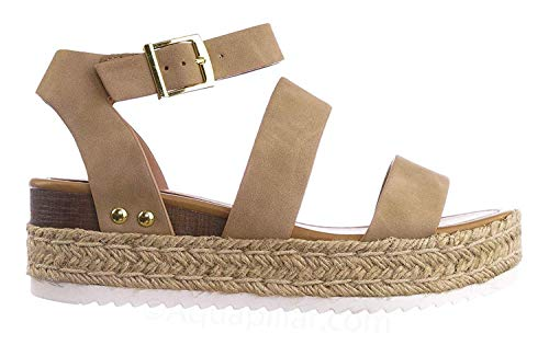 SODA Women's Open Toe Ankle Strap Espadrille Sandal (5.5, Bryce-Taupe)