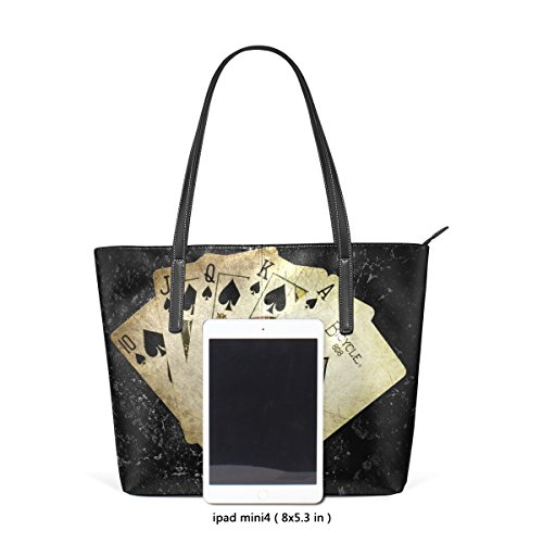 TIZORAX PU Purses Shoulder Top Fashion Poker Leather Game Bags Handle Handbag Gamble Women's Totes rI4Iwq