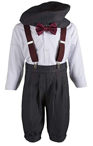 Tuxgear Boys Grey Knickers Pageboy Cap with Burgundy Rose Bow Tie & Suspenders (7B) by Tuxgear