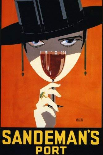 GIRL SANDEMAN PORT WINE DRINK PORTUGUESE LARGE VINTAGE POSTER REPRO (Best Portuguese Port Wine)