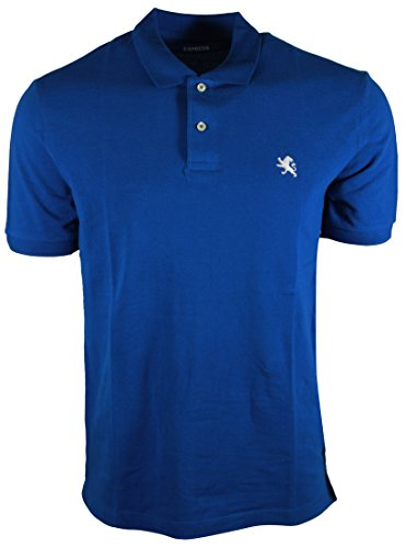 Express Mens Modern Fit Pique Polo Shirt (Large, Royal Blue) -