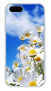 iPhone 5S Case, Daisies In The Sky PC Hard Plastic Case for iPhone 5/5S Whtie