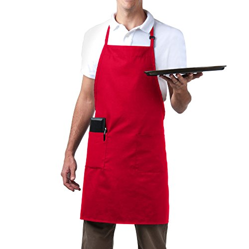 Length Bib Apron (Bib Aprons-MHF Brand-1 Piece-new Spun Poly-Commercial Restaurant Kitchen- Adjustable-Full length-3 Pockets (Red))