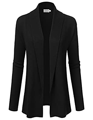 JJ Perfection Women's Solid Open Front Draped Neckline Long Sleeve Cardigan