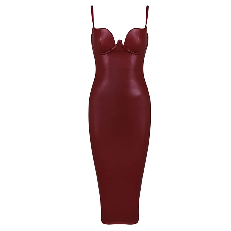 HLBandage Pu Leather Spaghetti Strap Padded Bra Rayon Bandage Dress