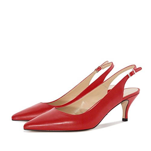 Soireelady Women's Kitten Heel Court Shoes Closed Pointy Toe Slingback Pumps Red Wzwe4