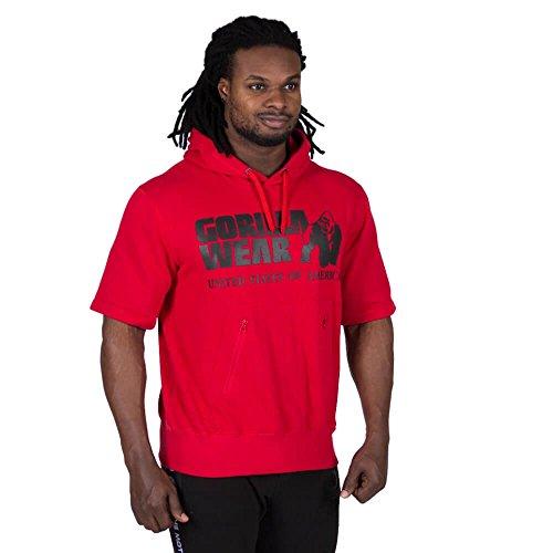 Gorilla Wear Boston Short Sleeve Hoodie Red with Black Logo / rot mit schwarzem Logo - Bodybuilding und Fitness Pullover für Damen und Herren