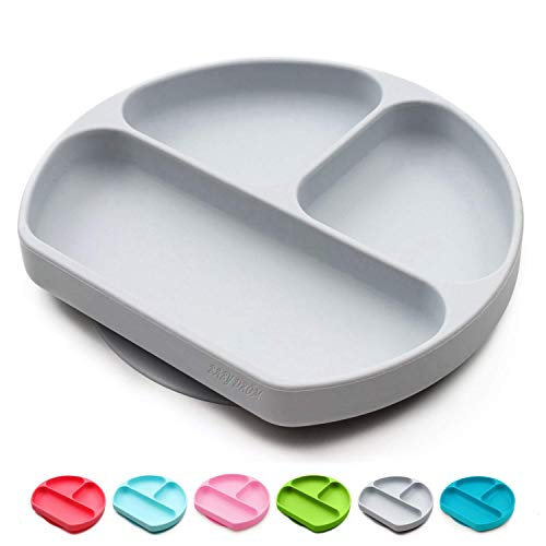 Baby Dröm Toddler Self-Feeding Suction Plate – Divided Food-Grade Silicone Suction Plate for Weaning Babies, BPA-Free, Microwave, Dishwasher & Oven Safe – Infant Feeding Bowls